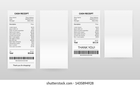Receipts vector illustration of realistic payment paper bills for cash or credit card transaction. Vector stock illustration.