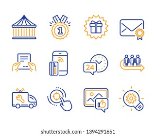 Receive file, 24h service and Seo target icons simple set. Surprise gift, Verified mail and Like photo signs. Car service, Contactless payment and Carousels symbols. Line receive file icon. Vector