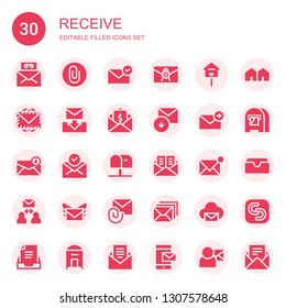 receive icon set. Collection of 30 filled receive icons included Mail, Attach, Email, Mailbox, Envelope, Received, Attachment, Attached, Mail box, Inbox, Safecopy backup
