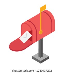 Receive incoming mails with this letterbox isometric  icon