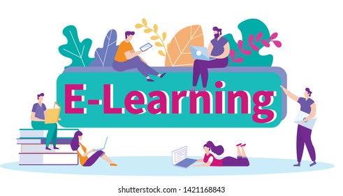 Receive Information Studying from Various Source. Distance Learning. Lesson Online. E-Learning. Online Training. White Background. New Technologies. Vector Illustration. Getting Diploma. Sign Contract