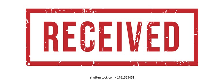 Received rubber stamp in rectangular border or frame. Red steal for product delivery service, receiving purchase approval, shipping confirmation mark, stamp isolated vector illustration