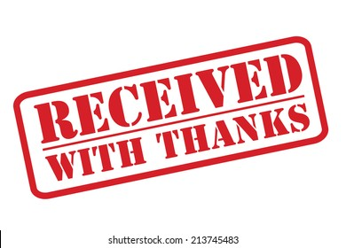 RECEIVED WITH THANKS red rubber stamp vector over a white background.