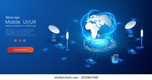 The receiver of the base station. The 5G telecommunications tower is a transmitter of global connection information. Network and satellite data exchange with the earth. Communication technology