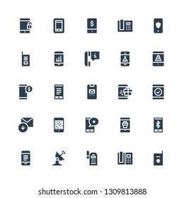 receiver icon set. Collection of 25 filled receiver icons included Walkie talkie, Phone, Smartphone, Satellite dish, Mobile, Received, Phone call, Phone receiver