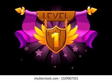 Receiving the cartoon achievement game screen. Level UP. Vector Award Shield icon. For game, user interface, banner, application, game development. Objects on a separate layer.