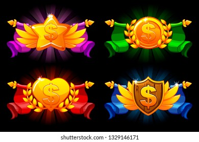Receiving the cartoon achievement game screen. Vector Dollar, heart, star and Shield medals. For game, user interface, banner, application, game development. Objects on a separate layer.