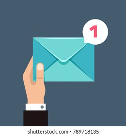 Receiving message vector concept with envelope in users hand. Envelope message correspondence, e-mail receive illustration