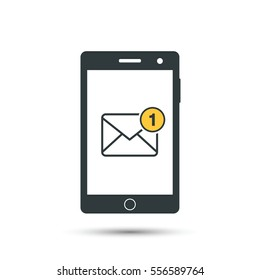 Receiving messages, mail on mobile phone. Incoming SMS. Call. Hand holds telephone. New letter. Vector icon. Flat style.