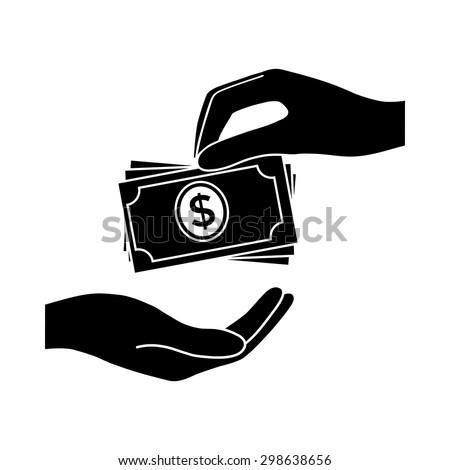receiving money banknotes stack icon cash のベクター画像素材