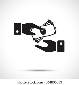 Receiving Money Icon. Two vector hands, giving money. Giving a money symbol from one hand to another.