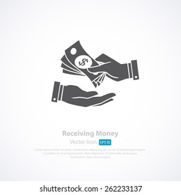 Receiving Money Icon. Vector Illustration