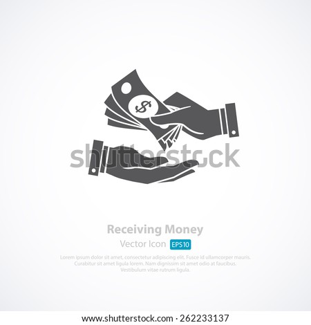 receiving money icon vector illustration のベクター画像素材
