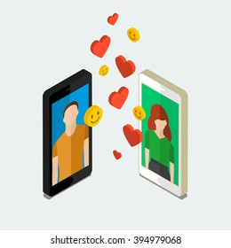 Receiving or sending love emails, long distance relationship. Isometric phones with hearts. Flat design, vector illustration