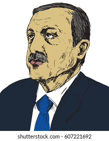 Recep Tayyip Erdogan, President of Turkey since 2014, Prime Minister (2003 - 2014), Justice and Development Party (AKP), drawn by hand vector illustration, pop art style, illustrative editorial