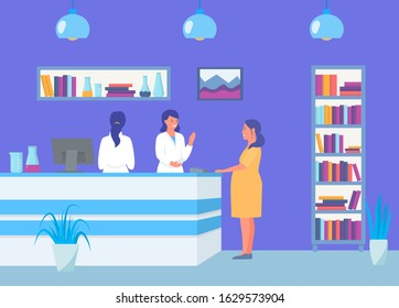 Reception in antenatal maternity clinic, pregnant girl vector illustration. Women patient visiting doctor for medical consultation and administrators. Treatment and healthcare.