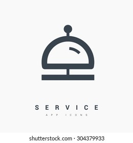 Reception bell icon. Hotel service sign. Linear outline icon on white background. Line vector icon for websites and apps mobile minimalistic flat design