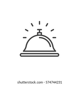Reception bell line icon, outline vector sign, linear pictogram isolated on white. Help desk symbol, logo illustration