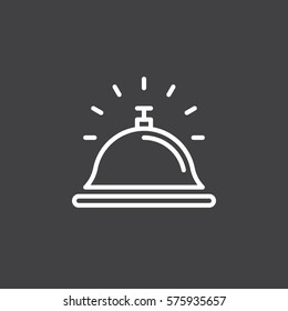 Reception bell line icon, outline vector sign, linear white pictogram isolated on gray. Help desk symbol, logo illustration