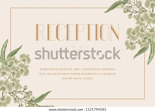 Reception card template with iris and lily of valley on beige background. Text in frame can be used for wedding invitations, postcards, save the date design