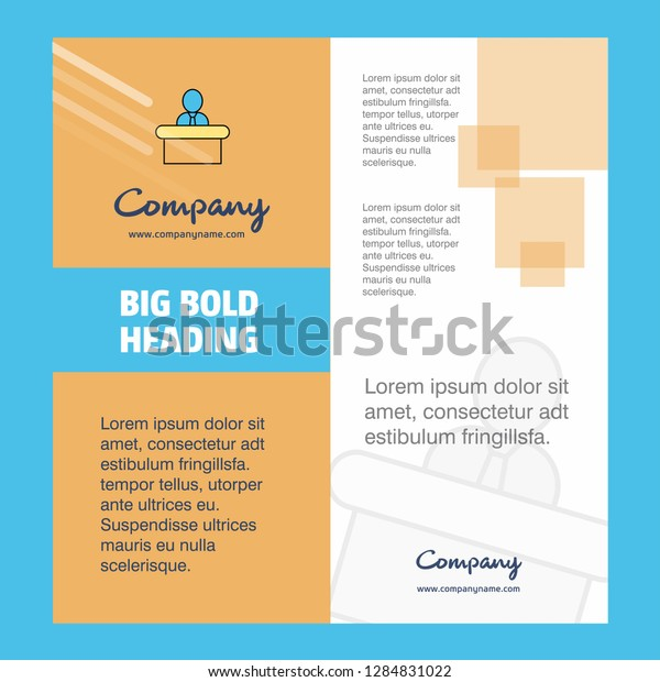 Reception Company Brochure Title Page Design Stock Vector