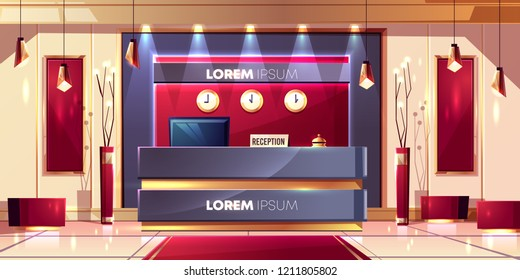 Reception counter or desk in luxury hotel lobby or company office hall interior cartoon vector illustration with red silk velvet decor, futuristic lamps, golden chandeliers and timezone clocks on wall