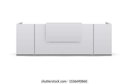 Reception desk mockup isolated on white background. Vector illustration