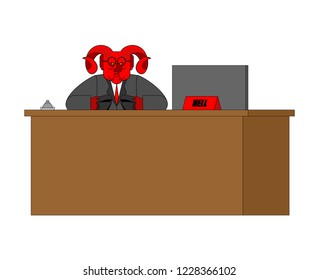 Reception Devil and rack. Acceptance of guests in Hell. Sinners register in inferno. Red demon. Satan Chief. Angry Lucifer