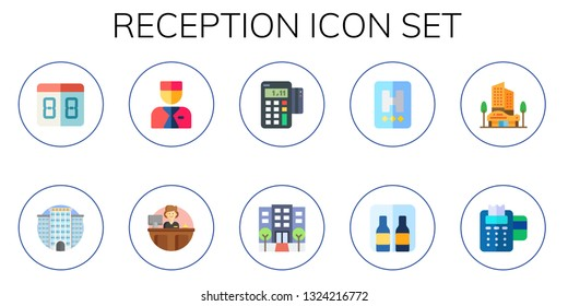 reception icon set. 10 flat reception icons.  Collection Of - counter, hotel, bellboy, receptionist, point of service, minibar