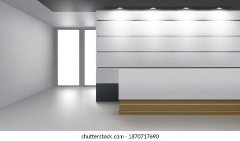 Reception interior, cozy foyer with modern desk, lamp illumination on ceiling and glass door. Empty hall or lobby area with soft light, contemporary decor rendering, Realistic 3d vector illustration