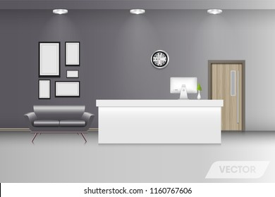 Reception lobby and interior decorative., Vector design