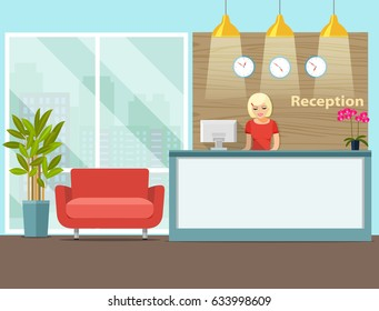 Reception in modern office with flowers and reception desk. Vector flat  illustration.