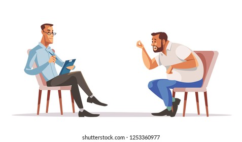 Reception of psychotherapist. Businessman and psychologist. Man is sitting on couch and talking to the psychologist while doctor is making notes. Vector illustration.