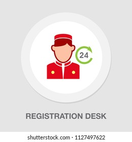 reception - registration desk. vector hotel service. receptionist office or counter