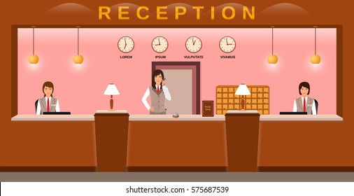 Reception service interior. Hotel employees welcome guests on their workplace. Business office receptionists. Flat vector illustration..