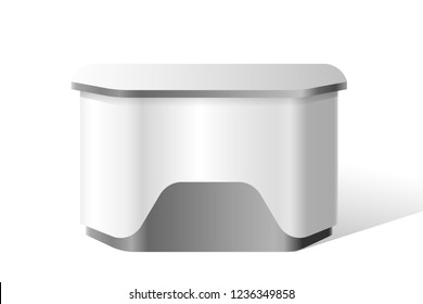 Reception stand, portable exhibition trade stand mockup. Retail kiosk, 3d information stand template. Blank promotion counter, business presentation, advertising booth. Vector realistic illustration