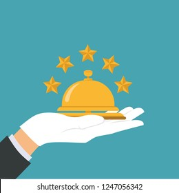 Receptionist concept. Hotel service bell, reception bell, hospital bell icon. Concierge, giving service. Hand touching hotel bell service. Vector illustration.