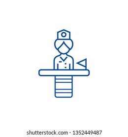 Receptionist line icon concept. Receptionist flat  vector symbol, sign, outline illustration.