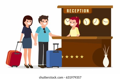 Receptionist at a reception desk, talking to guests of hotel, vector illustration. Customers check in
