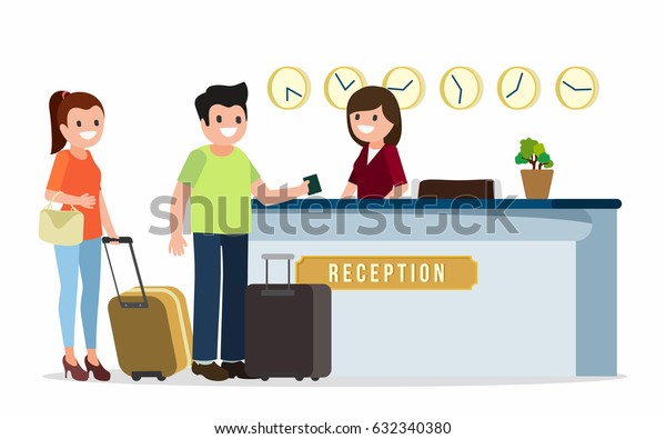 Receptionist at a reception desk, talking to guests of hotel, vector illustration