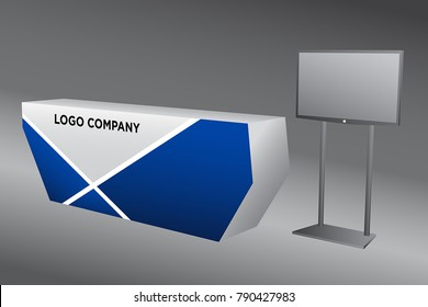 receptionist table with standing LED plasma TV and place for logo company. Modern style for exhibition and event party. Vector editable.
