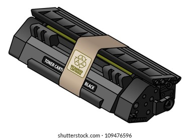 A recharged/recycled black laser toner cartridge.