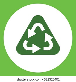 recicle arrow sign  simple green icon in white circle