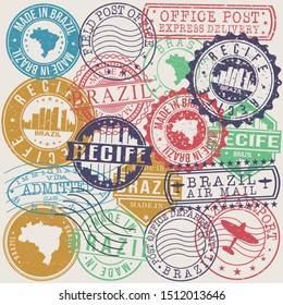 Recife Brazil Set of Stamps. Travel Stamp. Made In Product. Design Seals Old Style Insignia.