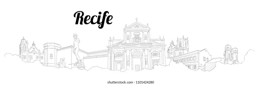 Recife city vector panoramic hand drawing sketch illustration