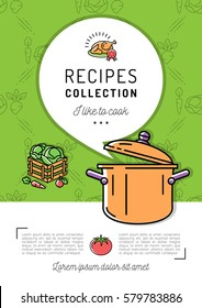 Recipe book Cover menu Cookbook A4 size. Boiling pot, Steam icon, Speech bubble with space for text. Culinary and vegetables background. Colorful vector illustration, isolated symbols