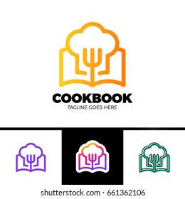 Recipe Book Logo Template Design in outline style Vector Design