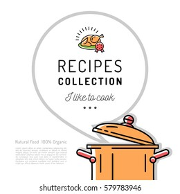 Recipe book Menu template Cookbook cover. Boiling pot, Speech bubble with space for text. Vector minimal design flat style, thin line icons