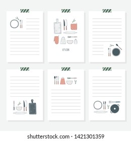 Recipe book template. Cooking cards set. Hand drawn culinary stickers with doodle kitchen utensils. Vector illustration, isolated