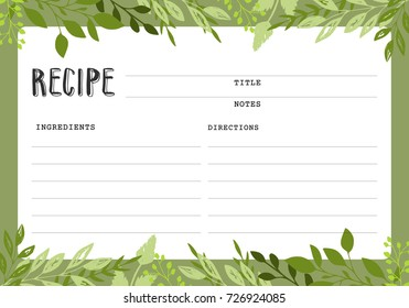 Recipe card. Cookbook template page.